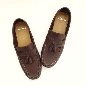 Clark's brown tassel slip on loafers